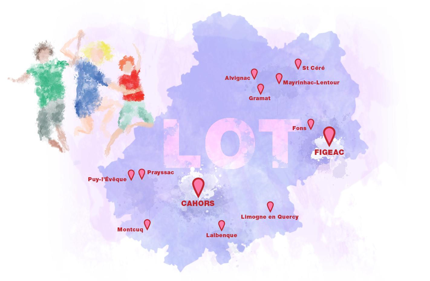 carte des établissement du lot